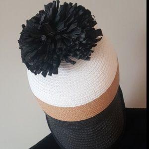 BCBG MaxAzria straw paper pom pom summer hat